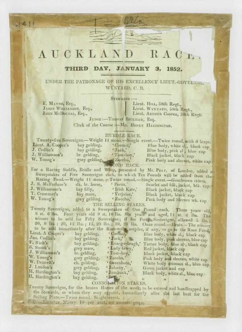 This silk racing program for the January 3, 1852 race celebrated his Excellency Lieutenant Governor Wynyard.