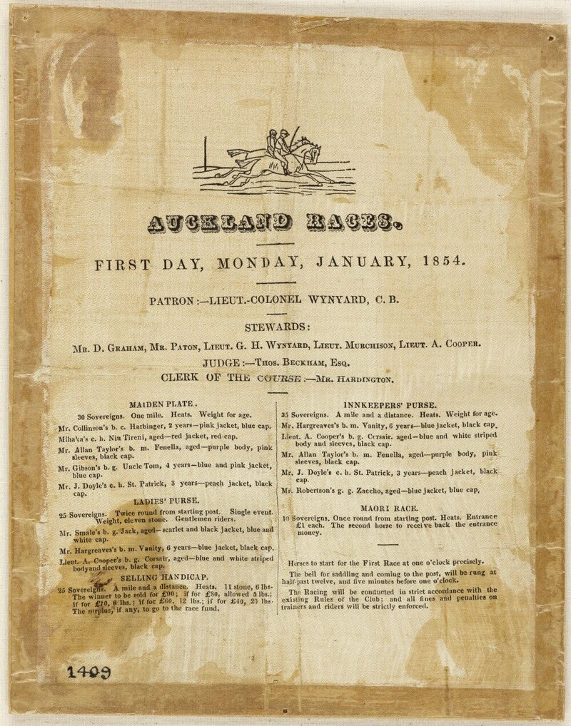 An 1854 racebook printed on silk, with a small illustration of riders on horses.