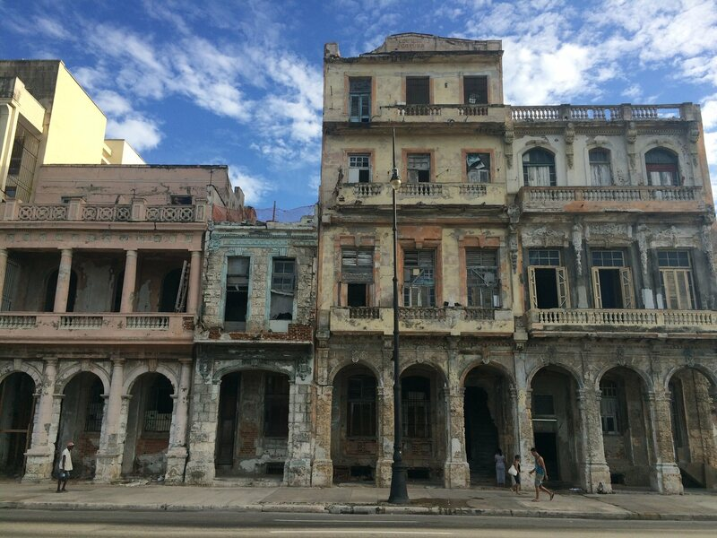 Decaying mansions along Havana's historic Malecón.