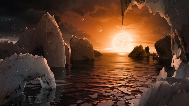 An artist's rendering of the (hypothetical) view from Trappist-1f, complete with salmon-colored sunlight.