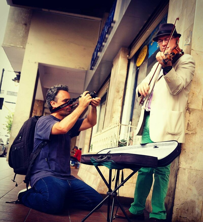 Musician Joshua Antoine performing in the streets of Guayaquil, Ecuador.