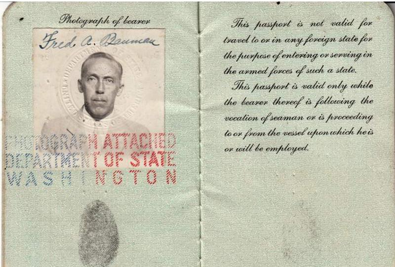 The photo page of Fred Albert Bauman's Seaman Passport.