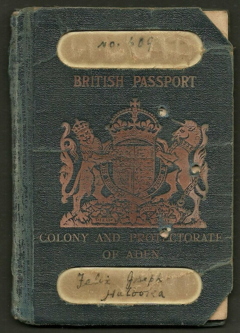 A passport for the Colony and Protectorate of Aden.