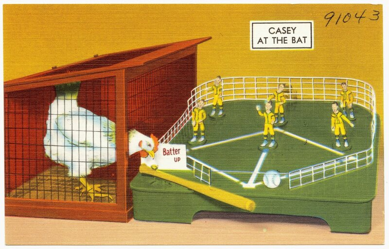 """Casey at the Bat,"" a vintage I.Q. Zoo postcard"