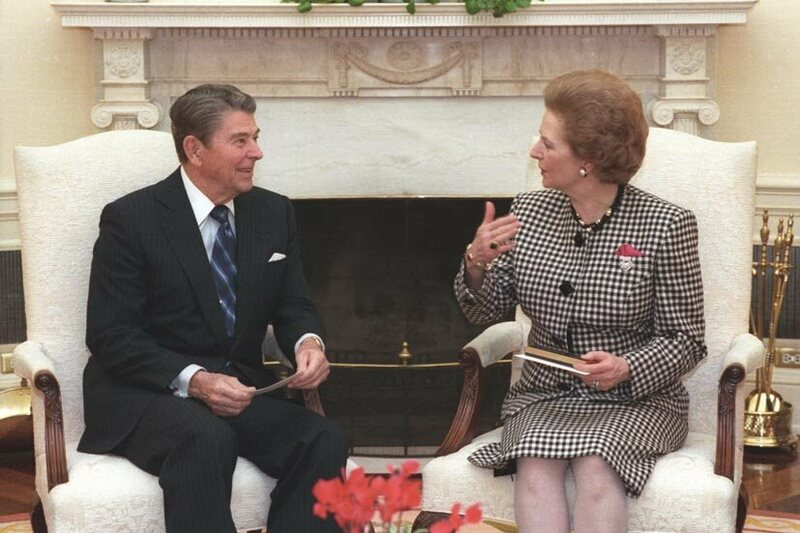 Ronald Reagan and Margaret Thatcher in 1988.