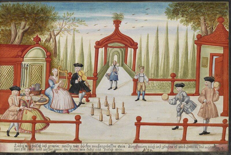 An illustration of lawn bowling by Johann Franz Hörmannsperger from 1736.
