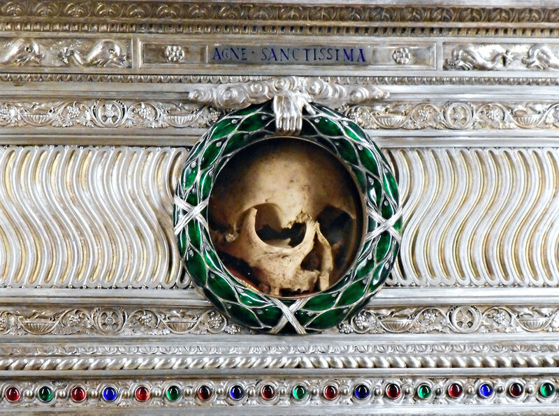 A silver reliquary containing the skull of St. Agnes in Rome.