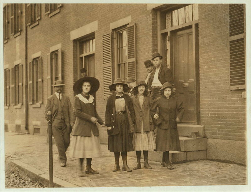 Massachusetts mill girls in the early 1900s, living slightly better than their predecessors.