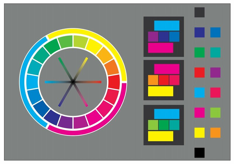 Your basic color wheel showing complementary and opposite hues.