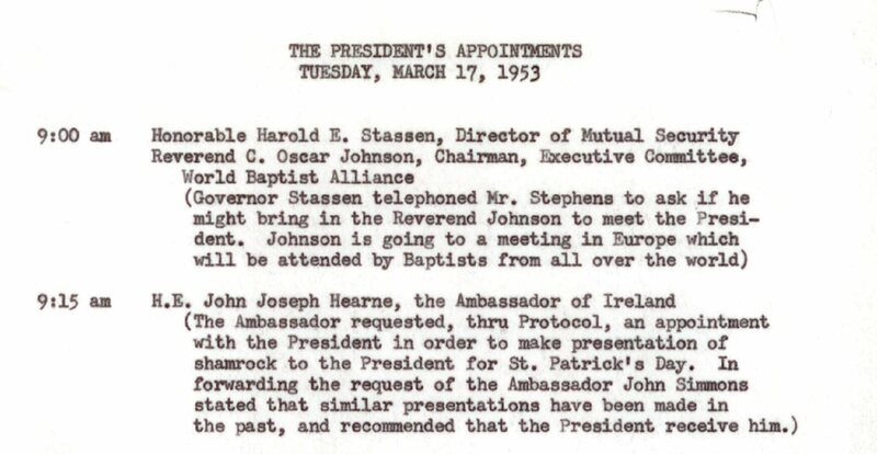 An excerpt from Eisenhower's 1953 appointment calendar.