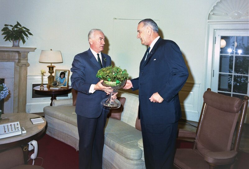 Ambassador of Ireland William P. Fay and LBJ with a shamrock-filled Waterford crystal bowl.