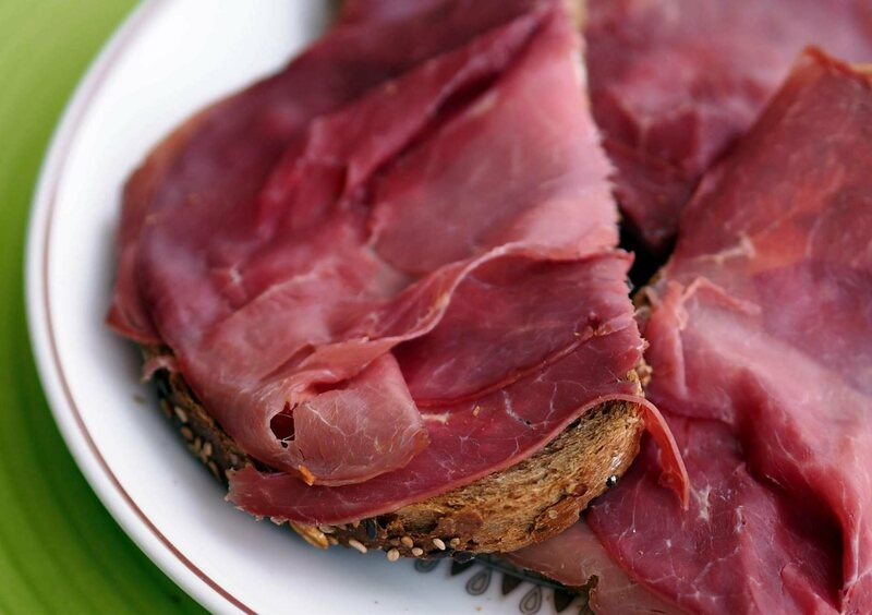 Smoked horse meat on toast.
