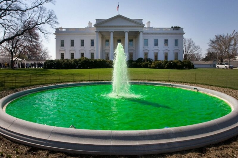 The water fountain on the north lawn at the White House, dyed green for St. Patrick's Day.