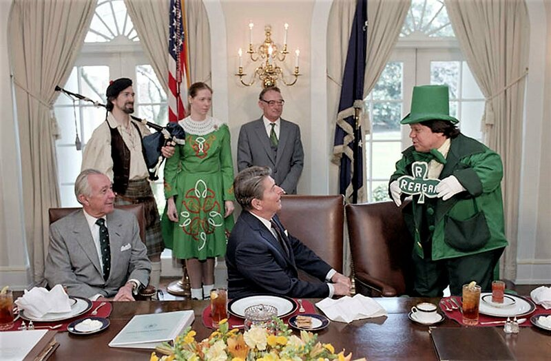President Reagan being entertained Irish style in 1983.