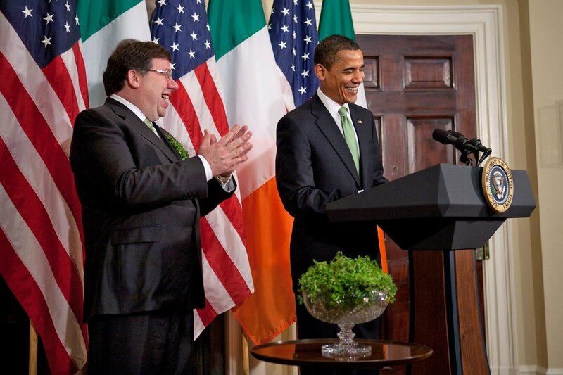 In 2009 Brian Cowen (former Taoiseach, or Irish Prime Minister) presented President Obama a bowl of shamrocks.