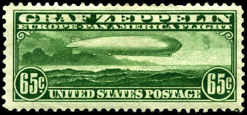 At 65 cents, the green Graf Zeppelin stamp was the least expensive.