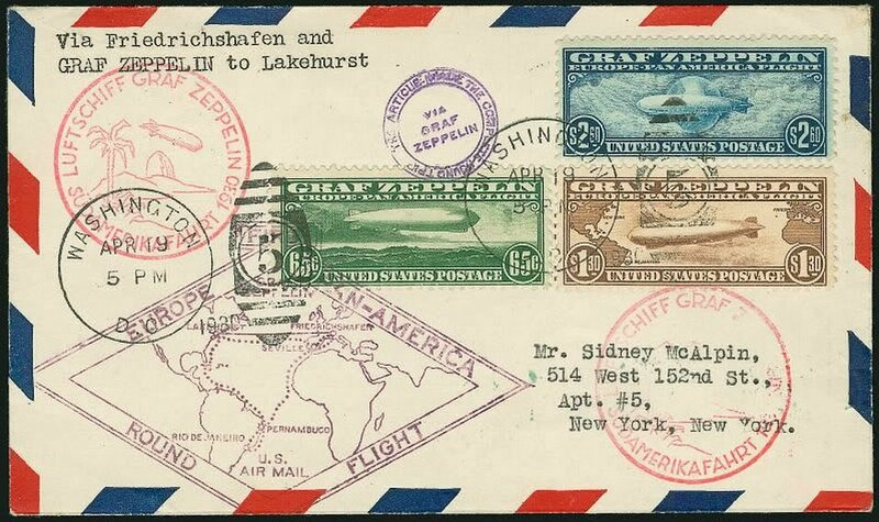 This letter's three Graf Zeppelin stamps let it travel across the ocean twice.