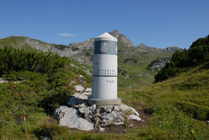 A marker at the boundary of Germany and Austria.