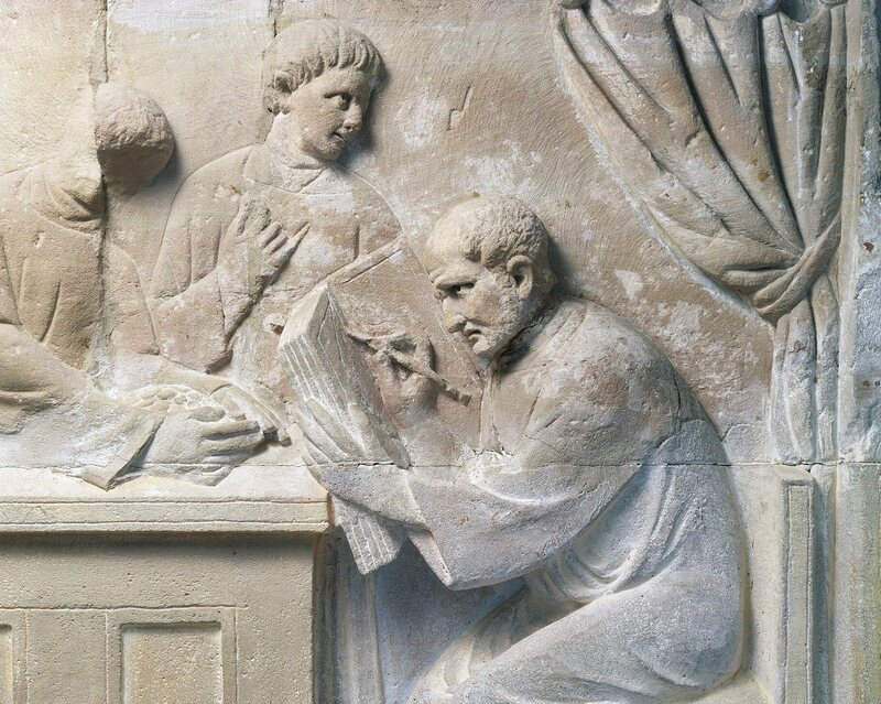 Relief of a Roman tax collector. The ability to collect taxes from ancient outposts was one reason for the rise of surnames.
