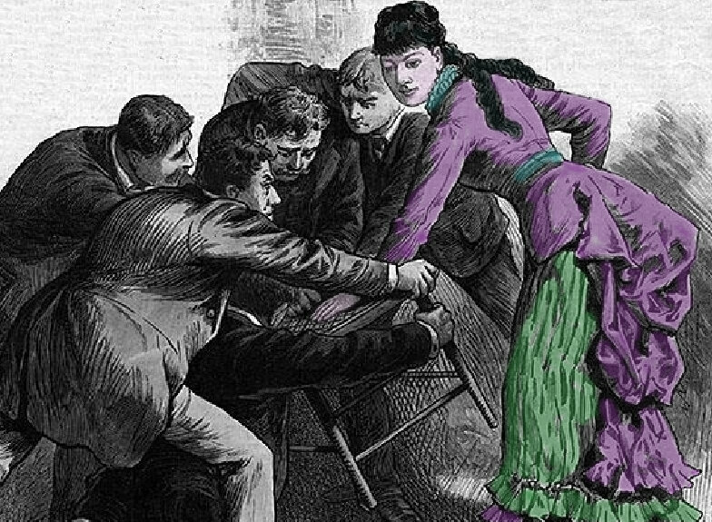 Illustration of Lulu Hurst's chair act, from <em>Frank Leslie's Illustrated Newspaper<em/>, July 26, 1884.