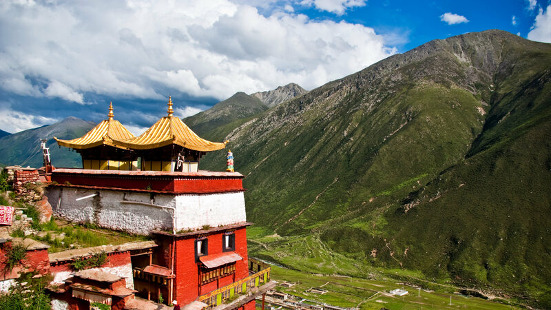 The Drigung Tibetan monastery, home to one of the last sky burial sites still in use.