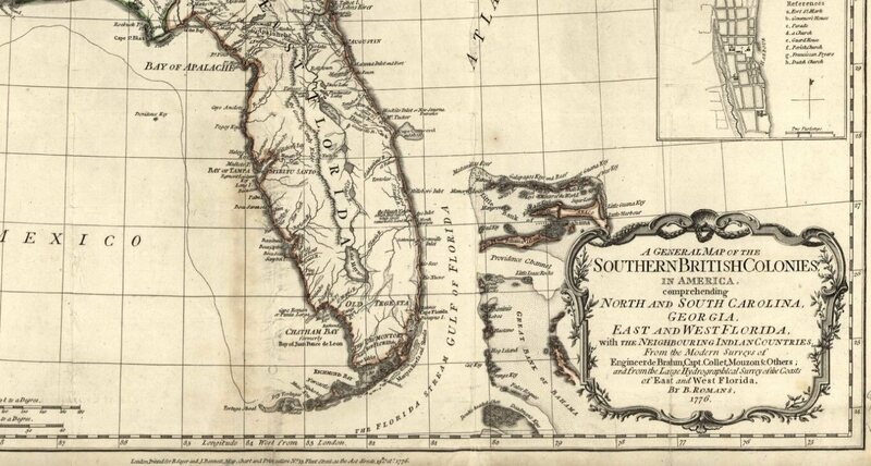 Map of south Florida, c. 1784.