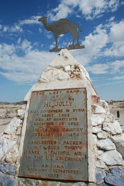 Hi Jolly's roadside memorial, in Quartzsite, Arizona. Topsy's ashes are buried here as well.