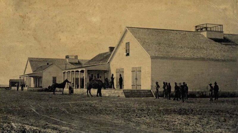 A Camel Corps veteran hangs out near a California barracks in 1863.