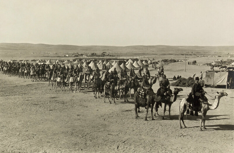 A more established camel corps, in Beersheba, Israel during WWI.
