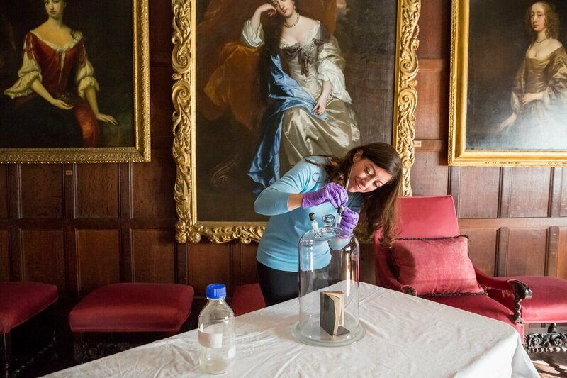 Extracting the smell of a 18th century bible in the Spangled Bedroom at Knole House.