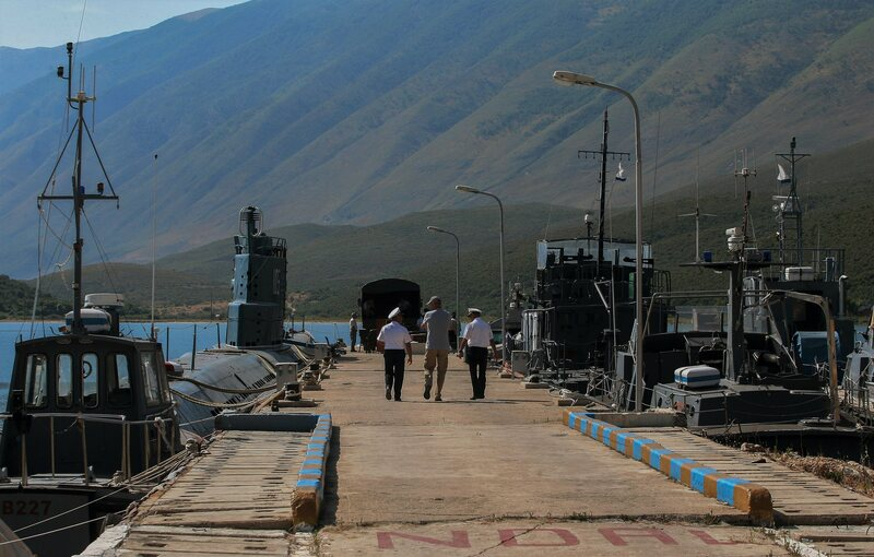 Military officials at the marine base of Pashaliman, near Sazan on mainland Albania.