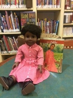 Addie, one of the American Girl Dolls in the NYPL's circulating collection.