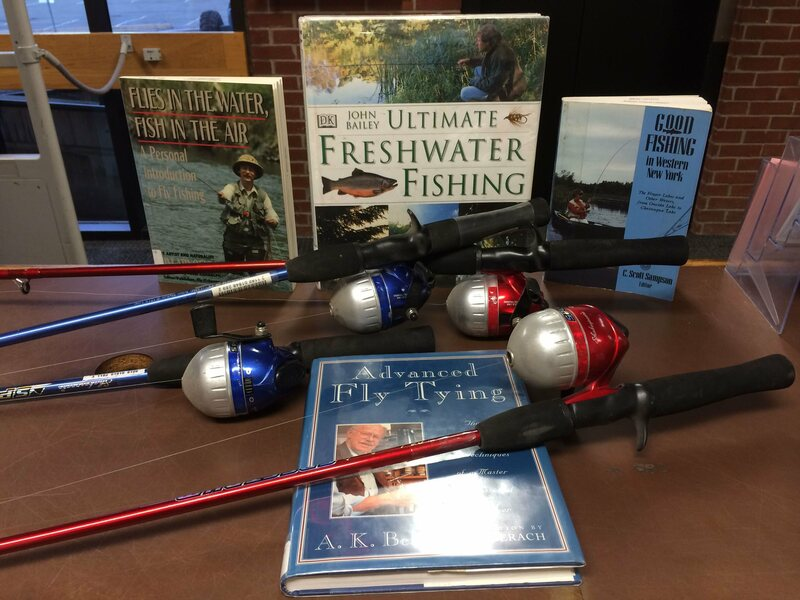 Fishing poles, available for checkout from the Albany Public Library.