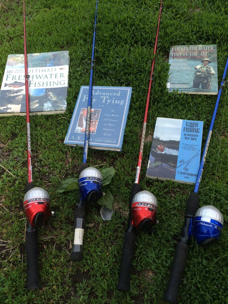 Library fishing poles in their element.
