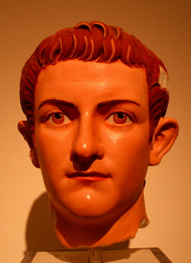 A bust of Caligula, recolorized to reflect what the artist saw.