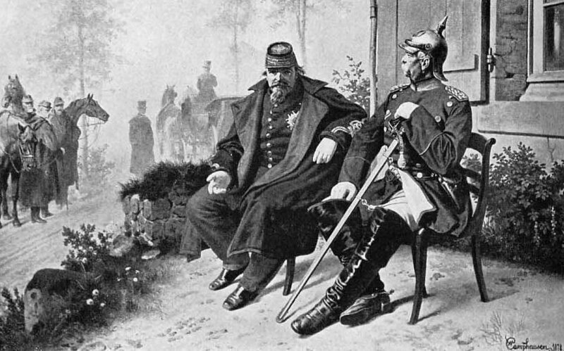Napoleon III's surrender at the Battle of Sedan in 1870.