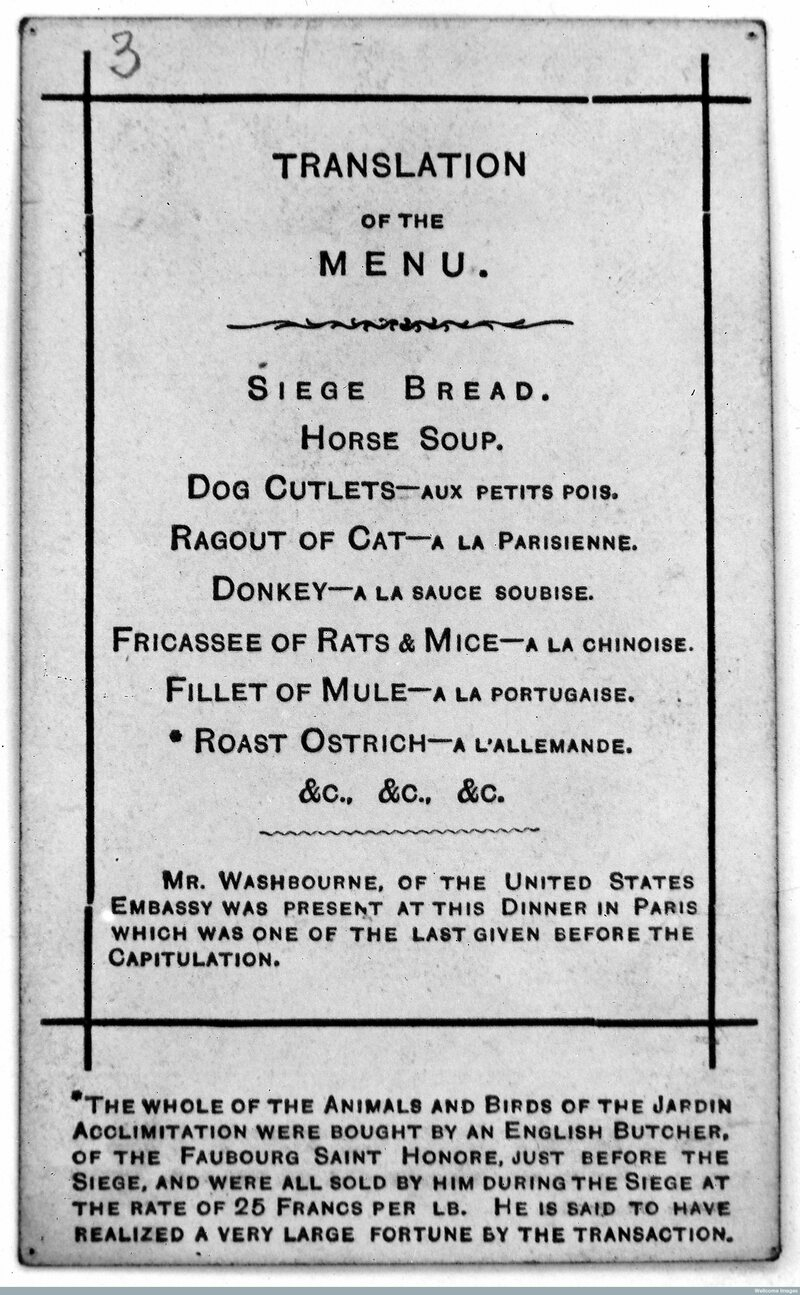 Another Paris restaurant menu from during the siege.