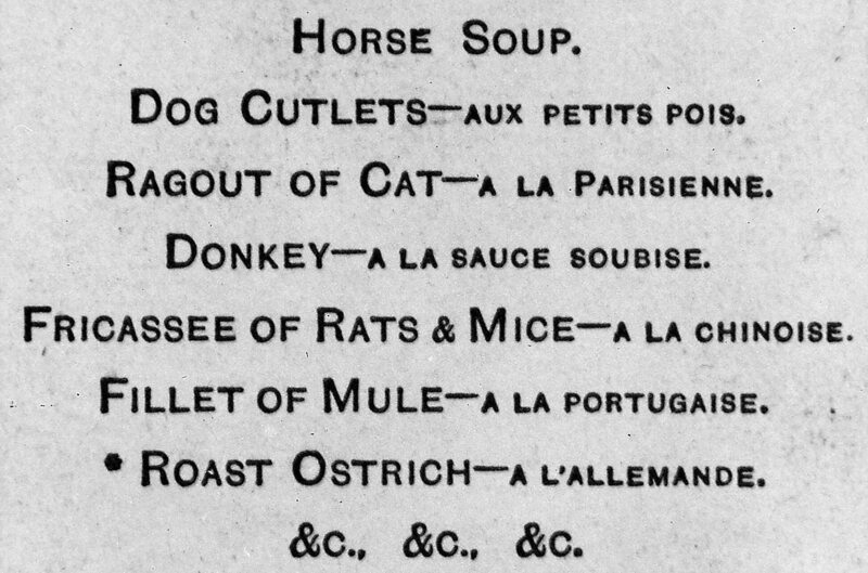 Some Paris restaurant menu options during the siege.
