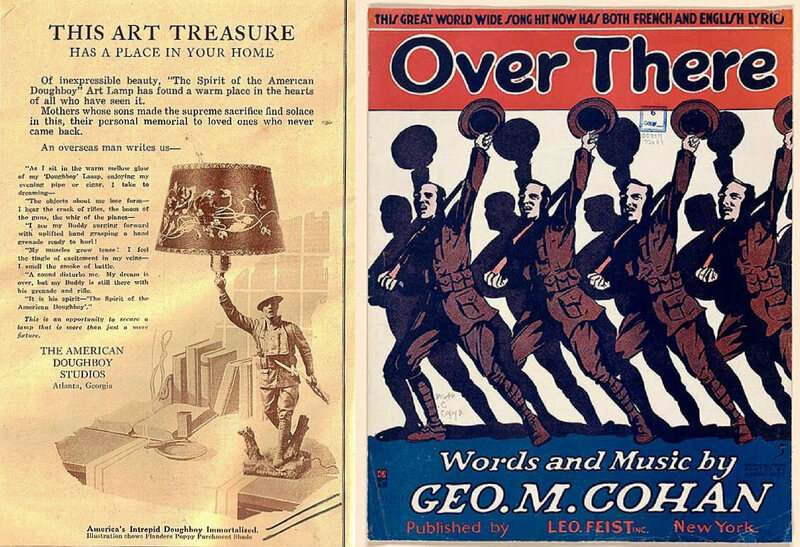 Marketing the World War I Doughboy. Left: Ad for Viquesney's lamp version of the statue; Right: sheet music for the iconic WW I song.