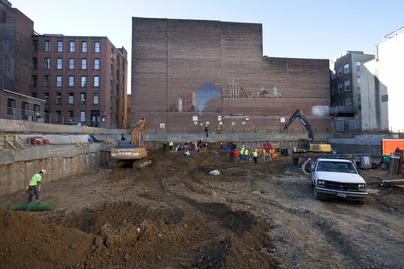 A wide view of 218 Arch Street—once a graveyard, now a soon-to-be apartment building.