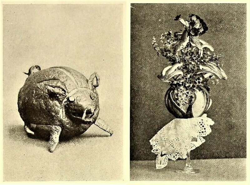 Two of Birch's completed works, a pig and a floral design.