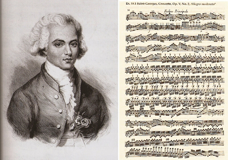 Bologne (here in 1768 by Eugène de Beaumont) fell out of fashion for his intricate violin pieces said to be admired by Mozart.
