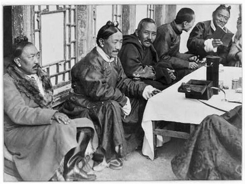 Early photograph (c. 1930) of high officials in Tibet, a region rarely seen and uncharted by western cartographers prior to the pundit program.