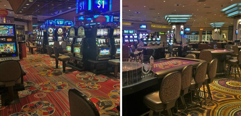 Empty slots, empty tables at the Caesars casino floor.