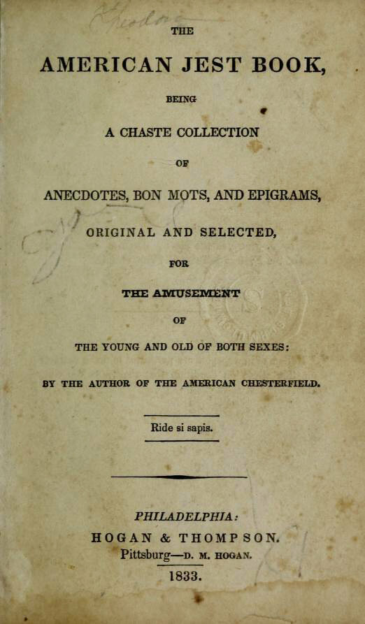 <em>The American Jest Book</em>, published in 1833.