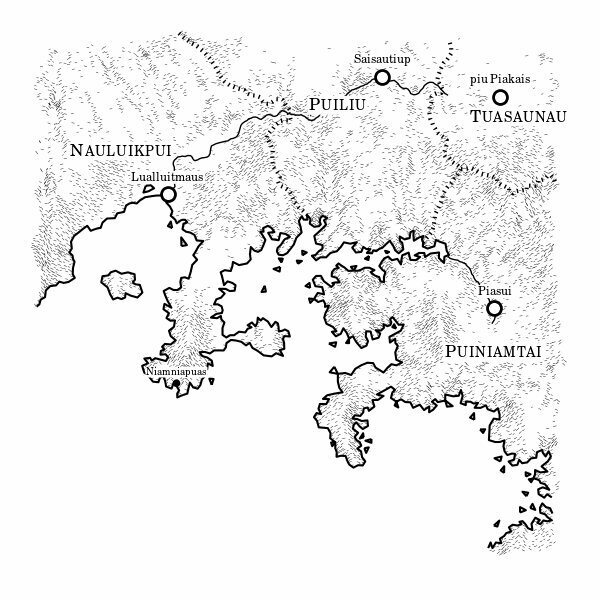 the landscapes are rendered in the pen and ink style of maps printed at the front of certain fantasy novels a la tolkien complete with alien names the