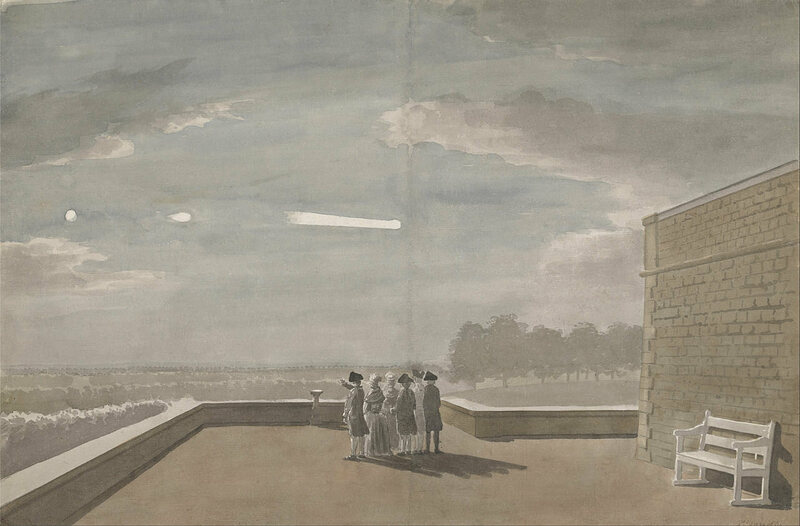 <em>The Meteor of August 18, 1783, as seen from the East Angle of the North Terrace, Windsor Castle</em>, by Paul Sandby.