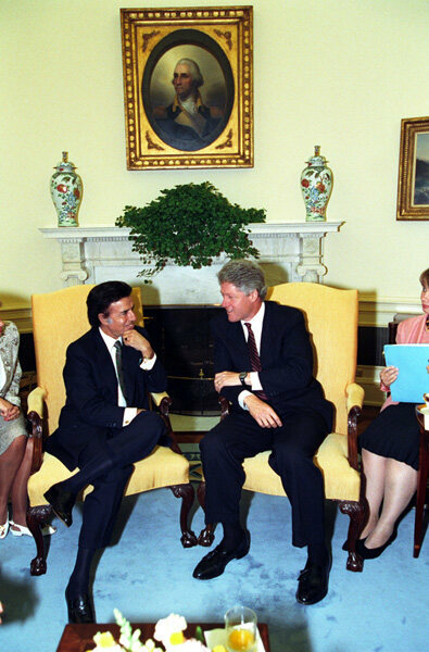 President Clinton meeting with President Carlos Menem in the Oval Office, 1993.