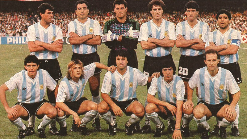 The Argentinian soccer team at the 1990 World Cup. Some believe that goalie Nery Pumpido's injury was caused by President Menem.