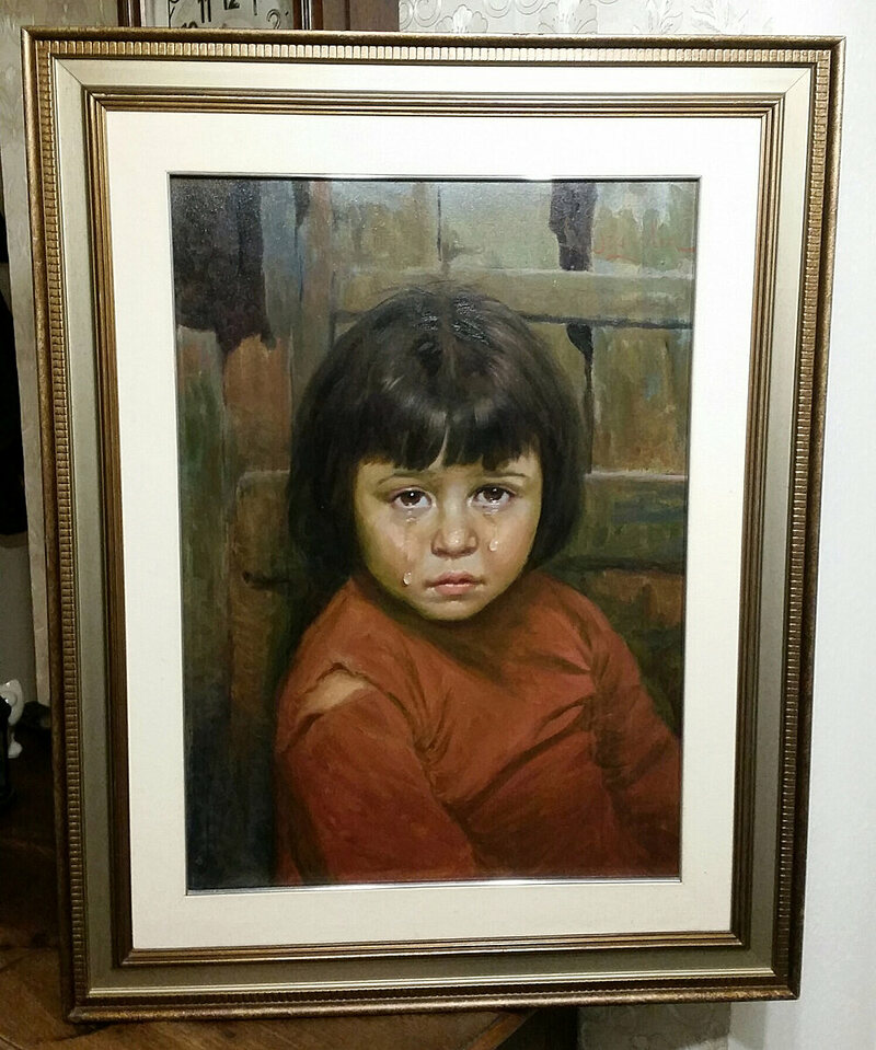 One of the crying child artworks by Giovanni Bragolin.